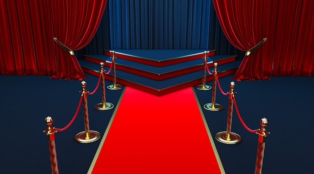 Realistic red carpet and pedestal with barriers fences and velvet rope Premium Photo