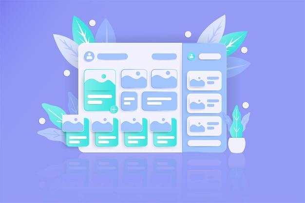 Веб-сайт панели инструментов в реалистичном стиле с плоским цветом Premium Фотографии