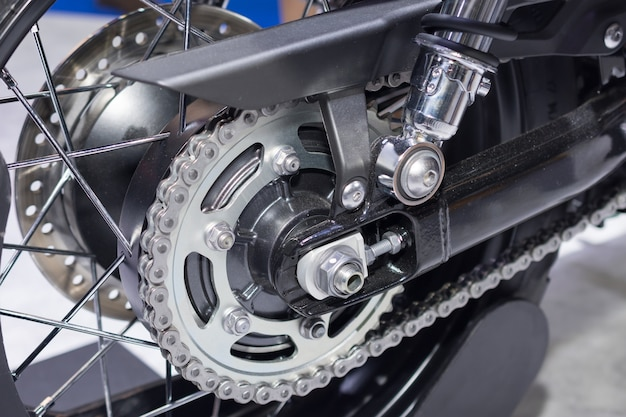 Rear chain and sprocket of motorcycle wheel Premium Photo