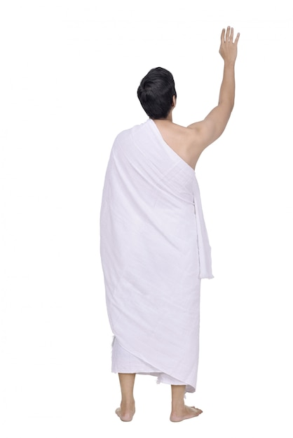 Rear view of asian muslim with ihram cloth standing Premium Photo