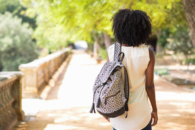 Rear view of female tourist with backpack walking Free Photo