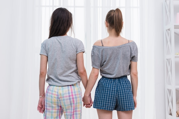 Rear view of lesbian couple holding hands looking at window with white curtain Free Photo