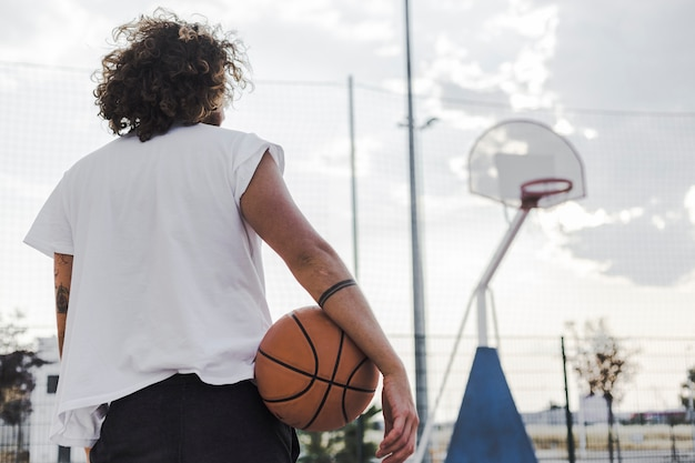 Rear view of a man with basketball Free Photo
