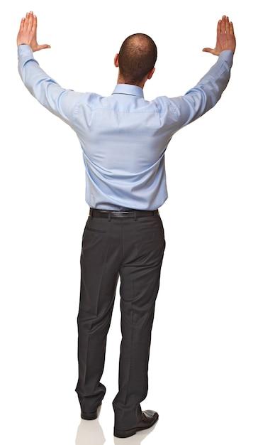 Вид сзади молодого кавказского бизнесмена на белом Premium Фотографии