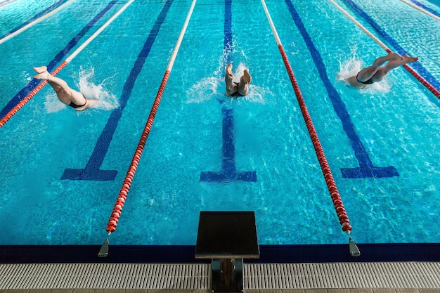 Rear view of three male swimmers diving into a pool Free Photo