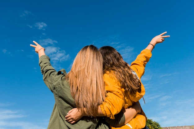 Rear view of two friends gesturing victory sign against blue sky Free Photo