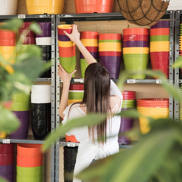 Rear view of a young woman placing colorful flowering plants in shelf Free Photo