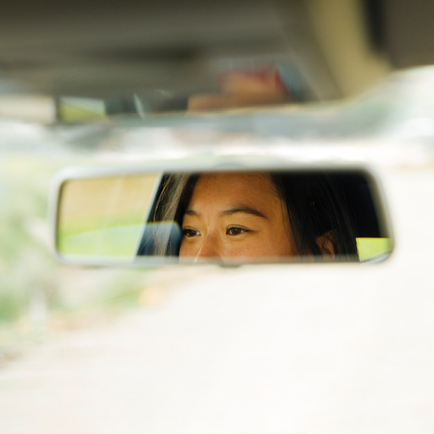 Rearview mirror with reflection of female eyes Free Photo