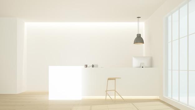 호텔의 리셉션 카운터 내부 3d 렌더링-최소한의 스타일 프리미엄 사진