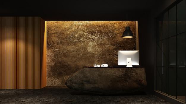 호텔에서 리셉션 카운터 인테리어 3d 렌더링 프리미엄 사진
