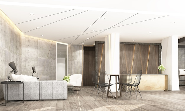 Premium Photo Reception Mainhall With Waiting Area And Co Working Space In Modern Industrial Style Interior Design 3d Rendering