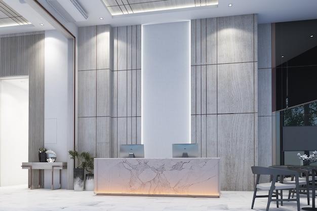 벽이있는 리셉션 대기실 로비는 의자 3d 렌더링 흰색 대리석 바닥과 테이블에 판매 갤러리를 장식 프리미엄 사진