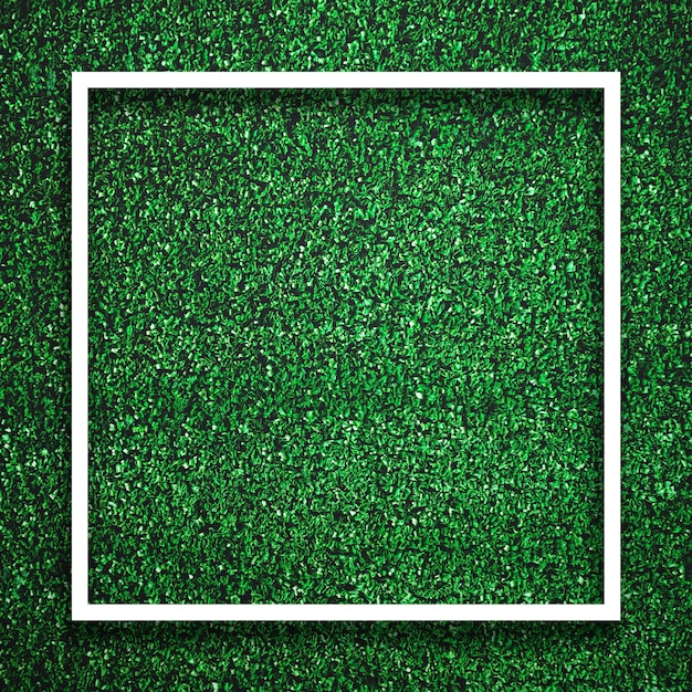 Rectangle square white frame edge on green grass with shadow background. decoration background element concept. Premium Photo