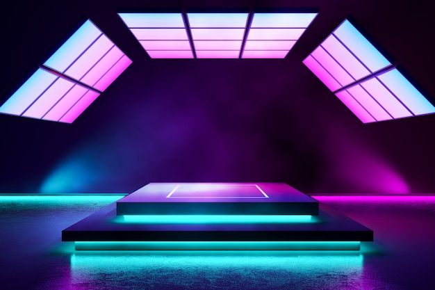 Rectangle stage with smoke and purple neon  light Premium Photo