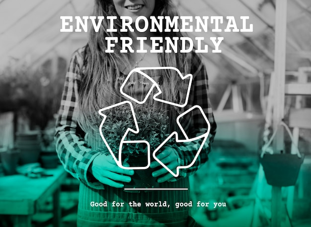 Recycle icon eco friendly green Free Photo