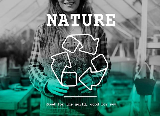 Recycle icon eco friendly green Free Photo
