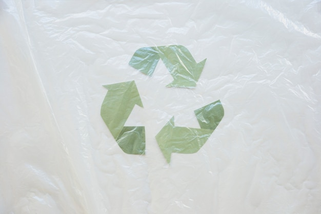 Recycle symbol with oilcloth Free Photo