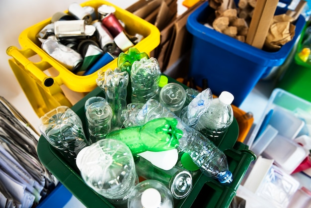 Recycle waste piled up for collection Premium Photo