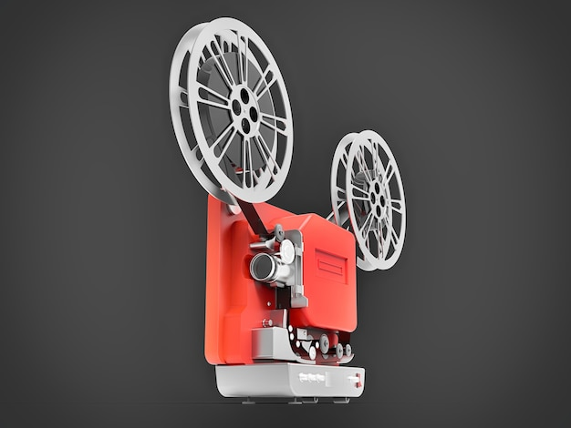 灰色の背景に分離された赤い3dシネマ映写機。 3dレンダリング。 Premium写真