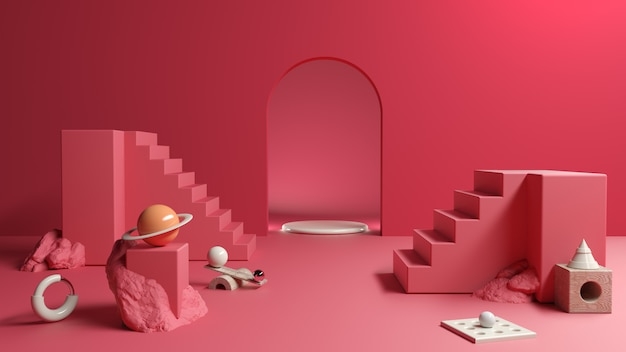赤の抽象的な構成プラットフォームと化粧品のプレゼンテーション、3 dイラストレーション Premium写真