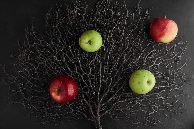 Красные и зеленые яблоки, изолированные на сухой ветке дерева, вид сверху. Бесплатные Фотографии