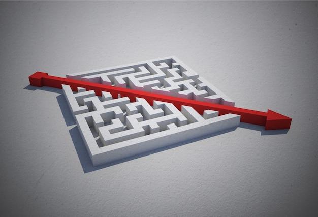 Red arrow cutting through puzzle Premium Photo