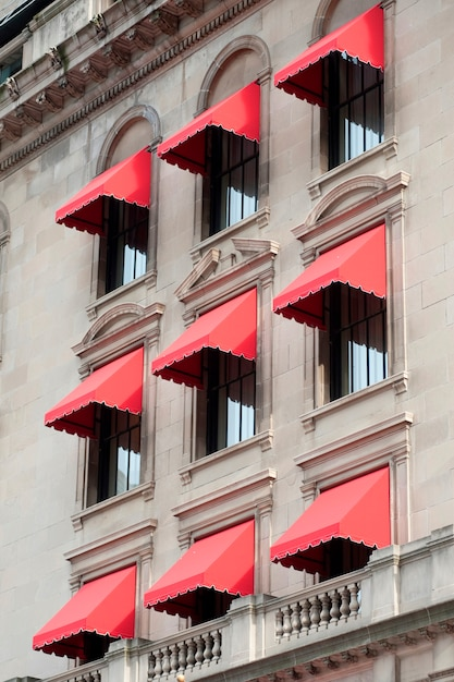 Red awnings on a building in boston, massachusetts, usa ...