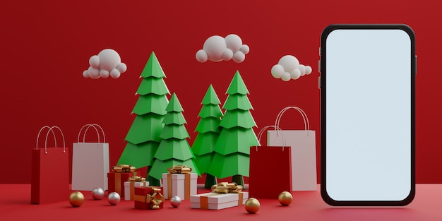 Red background with empty white screen mobile mockup, shopping bag, gift box and christmas trees for advertisement. 3d rendering. Premium Photo