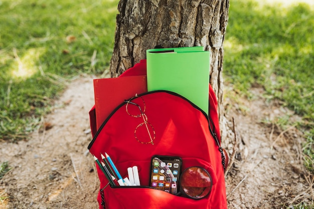 Red backpack with stationery and smartphone near tree Free Photo