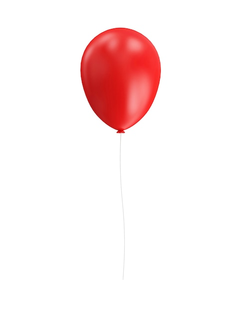 Red balloon isolated in 3d rendering Premium Photo