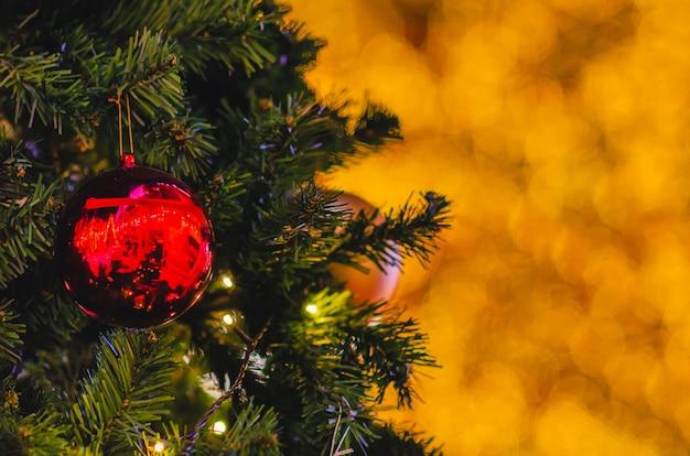 Красная безделушка висит на елке Premium Фотографии