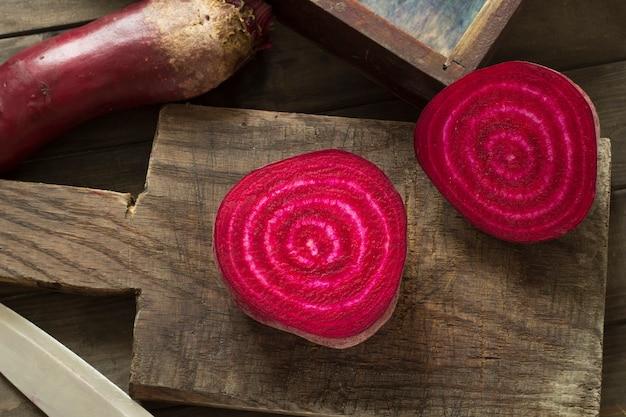 Red beet is cut. Premium Photo