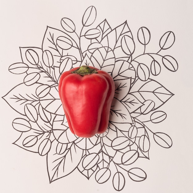 Red bell pepper over outline floral background Free Photo