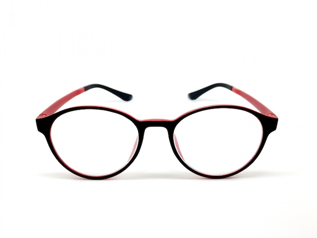 Red-black color eyeglasses isolated for model icons on white background. Premium Photo