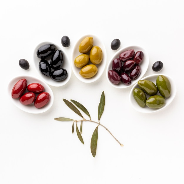 Red black yellow purple olives on plates with leaves Free Photo