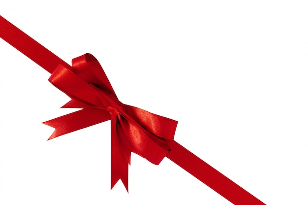 Red bow gift ribbon corner diagonal Free Photo