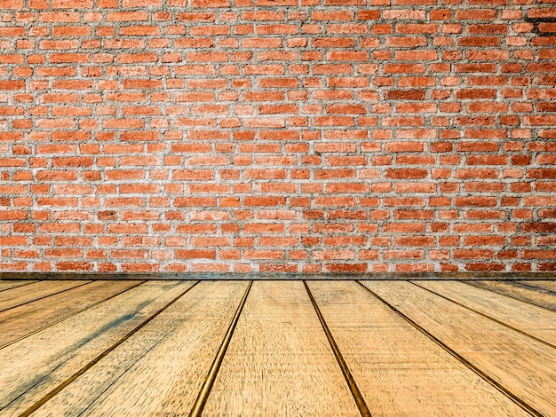 Red Brick Wall Texture With Wooden Floor Background Premium Photo