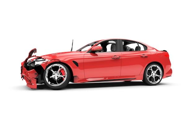 Red car crash on white Premium Photo