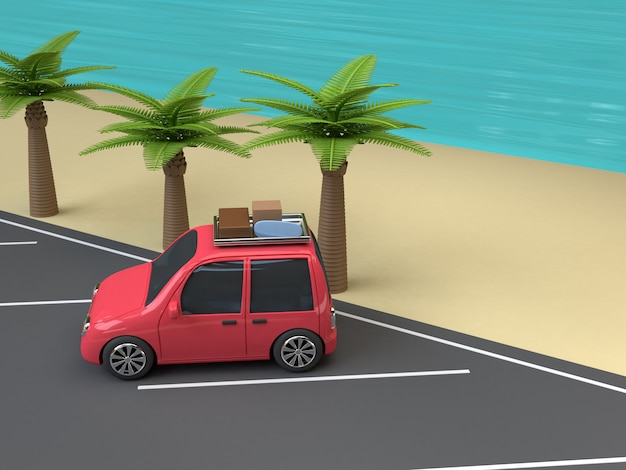 Red car parking on the beach blue sea coconut-palm trees cartoon style 3d render travel summer concept Premium Photo
