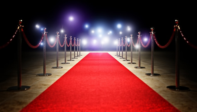 Red carpet and barrier Premium Photo