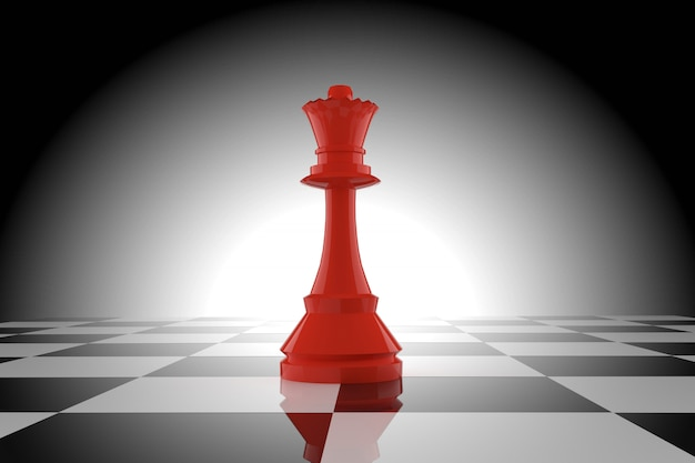 Red chess queen on chessboard in 3d rendering Premium Photo