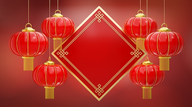 Red chinese hanging lanterns realistic with gold border frame on red bokeh background for chinese new year festival. Premium Photo