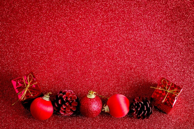 Red Christmas Ball And Gift Decoration Glitter Background