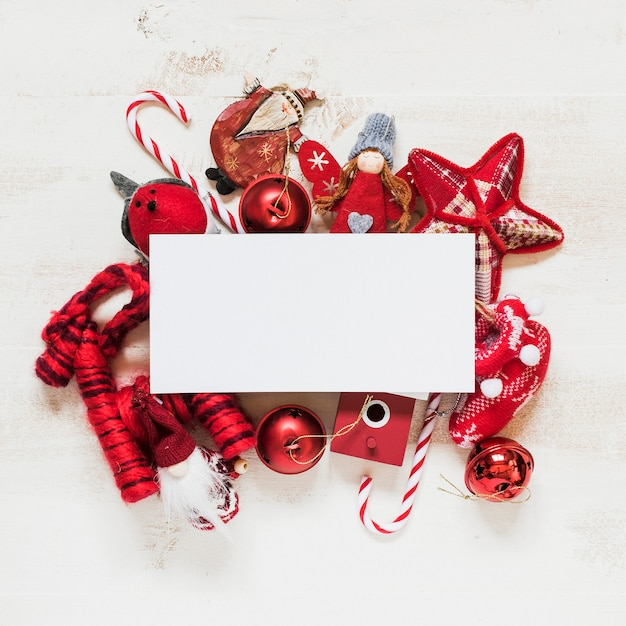 Red christmas ornaments with blank space for text Free Photo