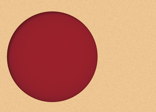 Red circular space on vanilla color cement wall background Photo ...