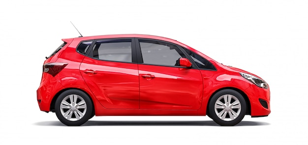 Red city car with blank surface for your creative design Premium Photo