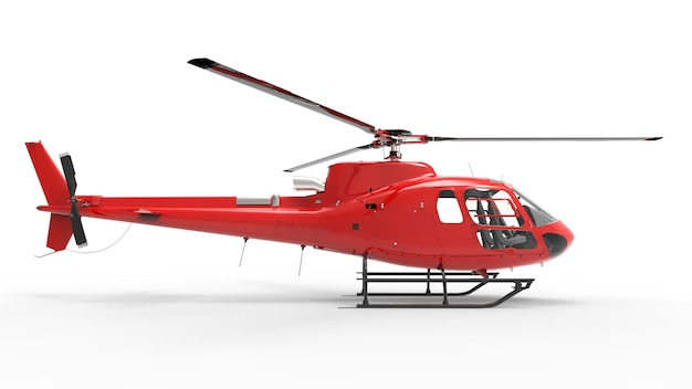 Red civilian helicopter on a white uniform background. 3d illustration Premium Photo