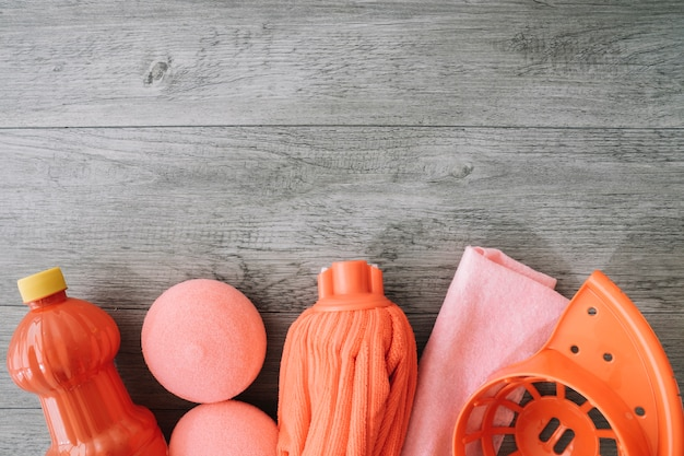 Red Cleaning Tools And Space On Top Free Photo