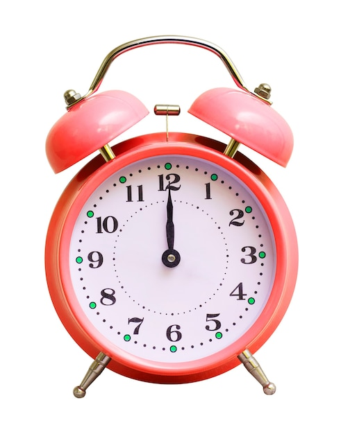 Red clock on white isolated, which shows 12 hours Premium Photo