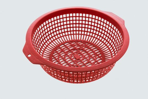 Red color plastic basket Premium Photo
